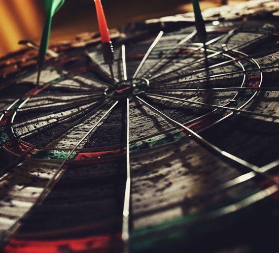 A bulls eye dartboard.