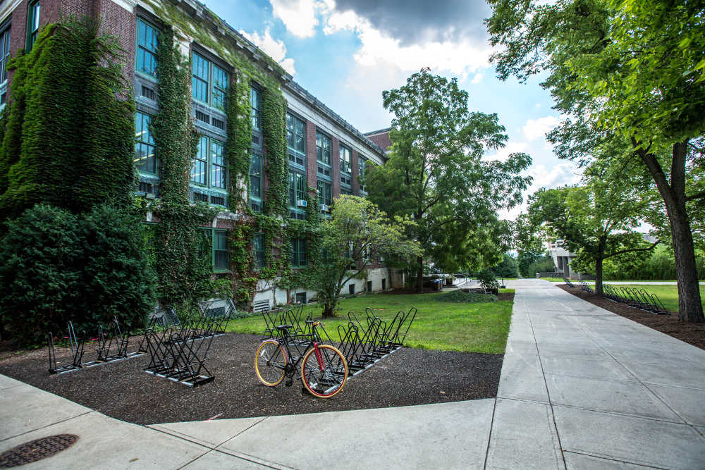 Bicycle in front of university campus building